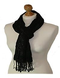 Black elasticated scarf with lurex adornment$ (black) 792-bl
