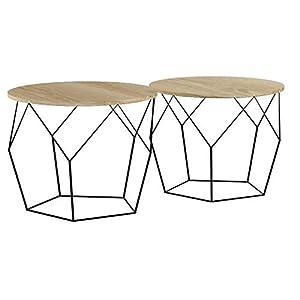 LIFA LIVING 2X 2er Set runde Couchtische aus schwarzem Metall und MDF-Holz, 4 Geometrische Beistelltische im mit…