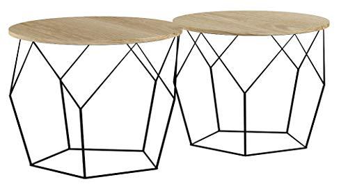 LIFA LIVING Runde Couchtische 2er Set aus schwarzem Metall und MDF-Holz, 2 Geometrische Beistelltische im Vintage-Stil mit Korbfunktion, bis zu 20 kg Belastbarkeit