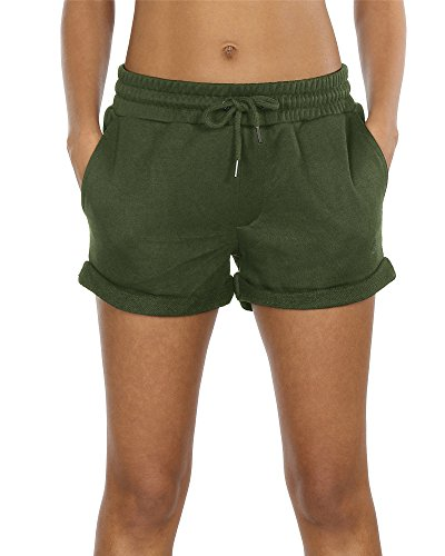 icyzone Sweatshorts Kurze Sporthose Damen - Gym Hot Pants Jogger Yoga Kurz Hose Sport Shorts (XL,Army Green)