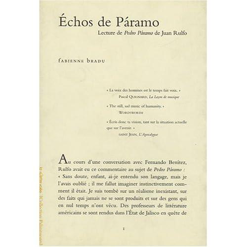 Echos de Paramo / Lecture de Juan Rulfo