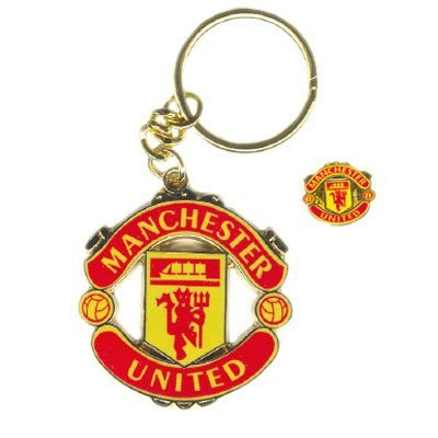 Manchester United FC Official Metal Keyring and Badge Set