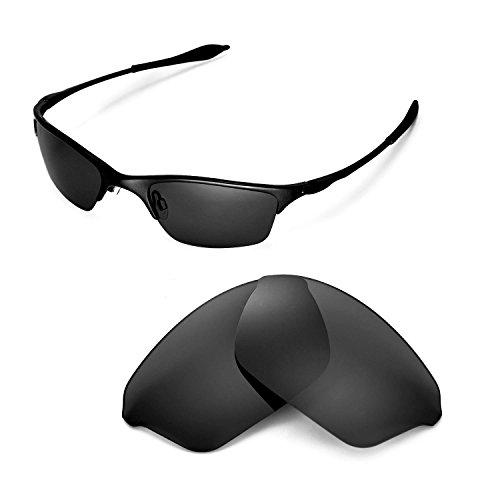 Walleva Ersatzgläser für Oakley Half Wire XL Sonnenbrille - Mehrfache Optionen (Schwarz - polarisiert)