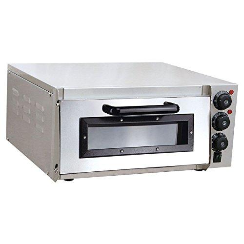 Pizzaofen elektrisch aus Edelstahl mit Pizzastein 1 Kammer Oberhitze Unterhitze