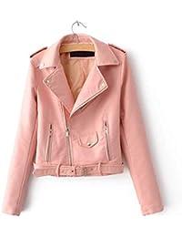 Damen Jacken Frauen Faux Pu Leder Kurze Motorradjacke Reißverschluss  Taschen Sexy Punk Mantel Damen Casual Outwear 1bd61538d6