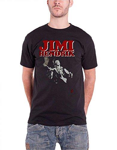 Jimi Hendrix Block Logo Nue offiziell Herren Schwarz T Shirt (Hoodies Jimi Hendrix)