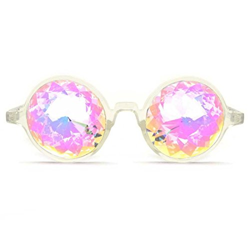 Preisvergleich Produktbild GloFX Kaleidoskop-Brille, transparentes Gestell, Rainbow Crystal Gläser - Multicolor Fractal Prisma - Rave, Festival, EDM, Liichtshow - GloFX Kaleidoscope Glasses, Clear Frame, Rainbow Crystal Lenses - Multicolor Fractal Prism - Rave, Festival, EDM, Light Show