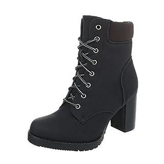 Schnürstiefeletten Damen-Schuhe Schnürstiefeletten Pump Schnürer Reißverschluss Ital-Design Stiefeletten Schwarz, Gr 40, Bq8-Kb-