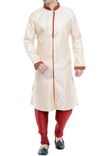 Vastramay Men's Cotton Silk Gold Sherwani & Maroon Pyjama Set (Color: Gold...
