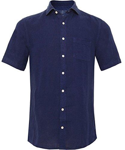hackett-uomo-camicia-in-lino-slim-fit-manica-corta-blu-marino-l