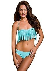 Ninimour Damen Modern Strand Bandeau Bikini Set Push Up Badeanzug mit Quaste Tops und Bottoms