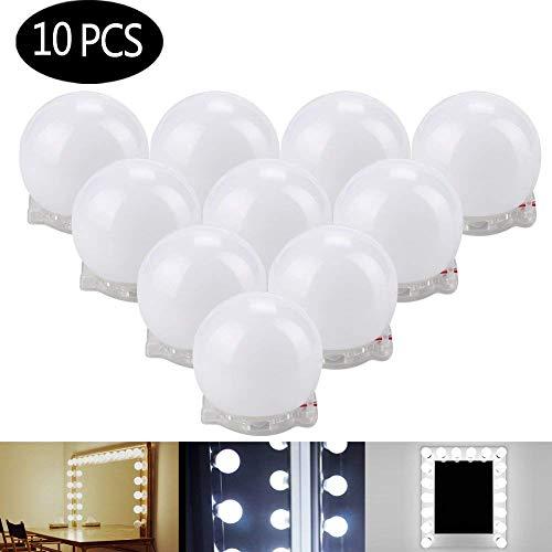 LED Spiegelleuchte, Spiegellampe, Hollywood-Stil dimmbare LED Spiegellampe Kaltweiß Beleuchtung mit 12V Netzteil für Kosmetikspiegel/Schminkspiegel/Frisierkommode,Spiegel Nicht Inbegriffen(10 LEDs)