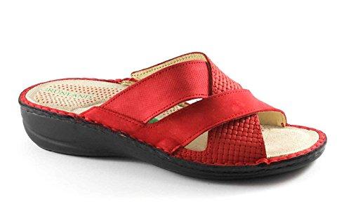 GRUNLAND ENDE CE0542 rosso ciabatte donna pelle zeppetta Rosso