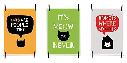 myprinti® 3er Set Bilder Sprüche Poster Motivation Englisch | Wohnzimmer Flur Büro Arbeitszimmer Arbeit | Wanddeko | Größe DIN A5 | Cats Are People Too, It's Meow or Never, Home is Where
