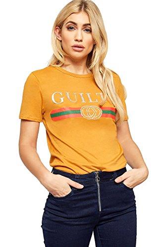 WearAll - Damen Kurz Hülle Guilty Glanz Slogan Druck Top Damen Grafik T-Shirt - Senf - 40-42