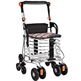 Rollator Leichter faltender 4 Wheels Wheeler Walker Einkaufswagen mit Sitztragetasche Bremsen Einkaufswagen-Tasche für ältere Personen mit eingeschränkter Mobilitätshilfe Höhe: 50 × 29 × 98 cm