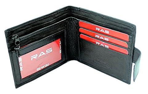 RAS® Nouveau Portefeuille En Cuir Souple Pour Homme Avec Cartes De Crédit Et Porte-Monnaie Zippé Noir #421 Black