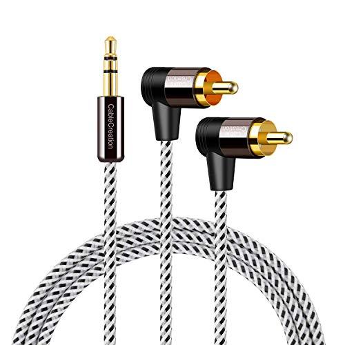 CableCreation Cinch-Splitter-Kabel, 3,5-mm auf 2,5 Winkel, AUX-Anschluss auf Stereo-Audio, Y-Adapterkabel, geeignet für Smartphones, Handys, MP3, Tablets, Lautsprecher, Heimkino, HDTV, ca. 50 cm 3Ft Cinch-y-splitter