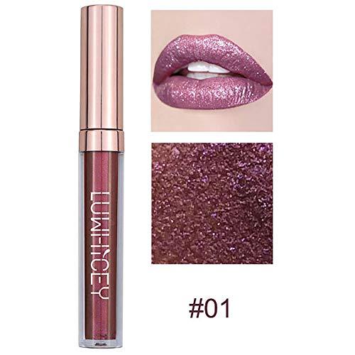 LoveLeiter Mode Lippenlippenstift Kosmetik Frauen Sexy Wasserdichte Lippen Metallic Lipgloss...