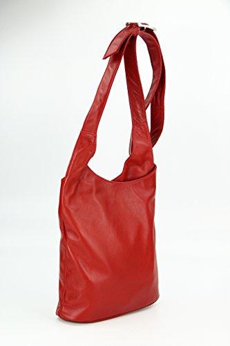 BELLI ital. Umhängetasche Cross Over Bag Damen Ledertasche Handtasche - Farbauswahl - 24x28x8 cm (B x H x T) Rot 2