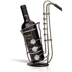Tooarts Casier à Vin Saxophone en Métal Support de Fer Vin Casier à Bouteille Sculpture Décoration Artisanat de Décoration d'Intérieur