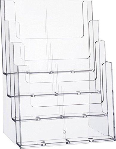 Helit H2352402 - Tischprospekthalter mit 4 Taschen, DIN A4, Hochformat, glasklar