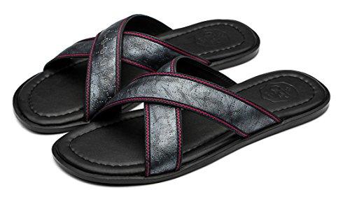 OPP Uomo Causal Pelle Pantofole Sandali Argento