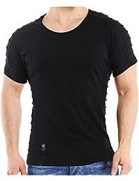 b677c04a1e6435 Redbridge Herren T-Shirt Casual Biker RIPP Basic Freizeit Shirt aus  Baumwolle Gerippt