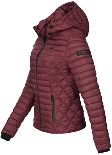 Marikoo Damen Jacke Steppjacke Übergangsjacke mit Kapuze gesteppt B600 [B600-Samt-Bordeaux-Gr.XS] - 2