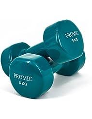 Promic 1Lb a 9,7kg mano levantamiento de pesos deluxe con revestimiento de vinilo juego de mancuernas entrenamiento aeróbico Fitness, juego de 2, Dark Green 5kg, 2 x 5 kg