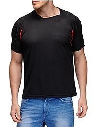 Scott Men's Jersey Round Neck Sports Dryfit T-Shirt - Black