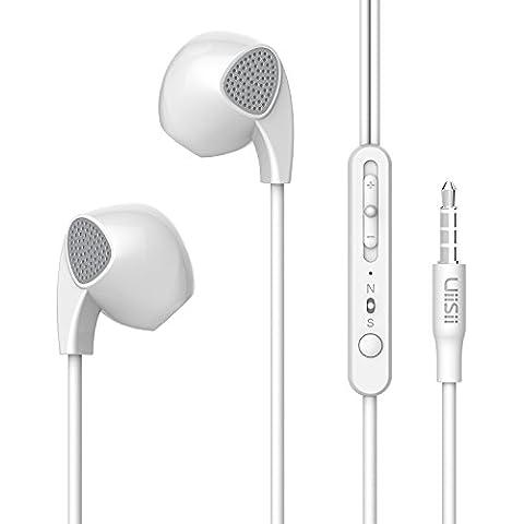 Uiisii U1 3.5mm aislamiento de ruido en la oreja sin enredos auriculares auriculares con control de volumen y micrófono para MP3, MP4, MP5 jugadores, teléfonos inteligentes, tabletas, ordenadores portátiles y otros dispositivos de audio