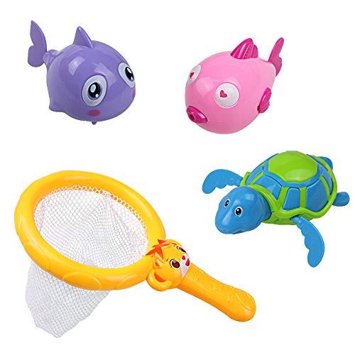 Symiu Juguetes Baño Bebe Juegos de Agua Piscina Animales Juguetes Tortuga y Pescado y Pez Globo per Niños 12 Meses+