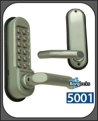 Borg 5001DDA Digital Push Button Lock?Medium Duty Einsteckriegel?Satin Chrome -