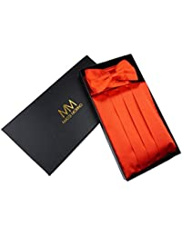 MASSI MORINO Kummerbund - Set mit Einstecktuch und Fliege, inkl. Einer Edlen Geschenkbox, Smoking - Set in Schwarz, Rot Oder Blau