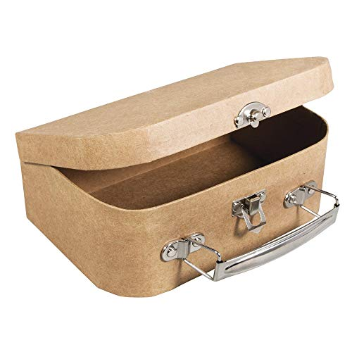Rayher 67205000 Pappmaché Koffer, 18 x 12 cm, Höhe 6,5 cm, FSC zertifiziert, mit Metallgriff und Schnappverschluss, kleiner Koffer aus Pappmaché, Bastelkoffer, Utensilienkoffer, Pappmachébox