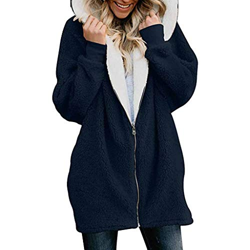 TEBAISE 2018 Damen Herbst Winter Plüschjacke Warm Winterjacke Steppjacke Outwear Cardigan Langarm Fleece Parka Kapuzenjacke Trench Coat
