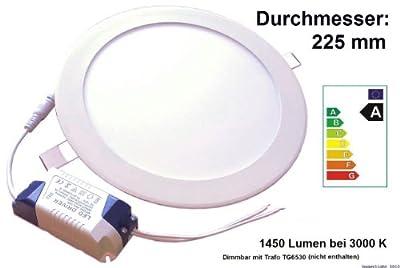 LED Panel Einbaustrahler 18W, 1450 Lumen, 3000 K, d=225mm, opt. dimmbar - gleichmäßig leuchtende Fläche - Einbauleuchte Rund, extrem flach von Hilamp Electronic auf Lampenhans.de