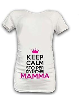 Babloo T Shirt Maglia Premaman Keep Calm Sto Per Diventare Mamma Bianca Bianca Grafica Fucsia S Manica Corta