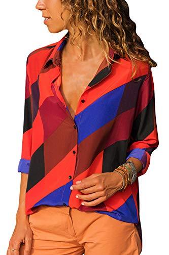 Cindeyar Damen Bluse Gestreift Langarm V-Ausschnitt Elegant Casual Oberteil Top Langarmshirt (Orange, S) -
