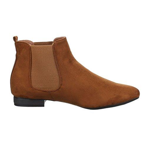 Ital-Design Chelsea Boots Damenschuhe Chelsea Boots Blockabsatz Blockabsatz Stiefeletten Camel 51071-PA