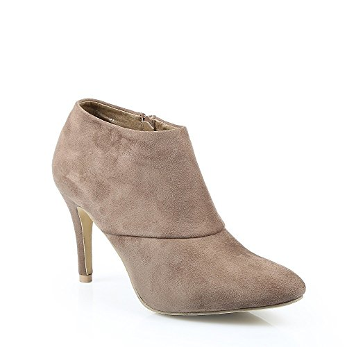 Ideal Shoes - Bottines low boots effet daim Pernelle Taupe