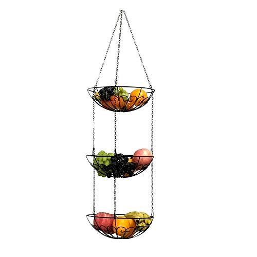 YuFLangel Ekorativer Obstkorb 3-Tier-Draht Obst Hängende Korb Gemüse Küche Ablagekorb Obst Etagere (Farbe : Schwarz) -