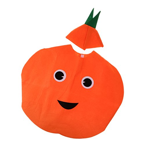 Sharplace Traje de Naranja Fruta Sin Tejida Niños Vestido Lujo Disfraz Diversión Cosplay Cumpleaños Amigos Festival