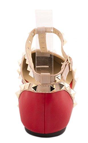 Elara Damen Ballerinas | Flach Spitz T-Spange | Lederoptik Nieten Rot