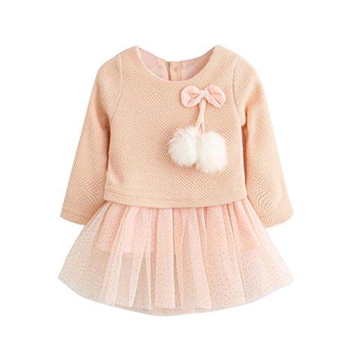 Bekleidung Longra Kleinkind Baby Kind Mädchen Lange Ärmel gestrickt Bogen Prinzessin Kleid Neugeborenen Tutu Kleid (0-24Monate) (70CM 0-6Monate, Pink)