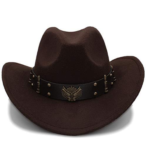 Sunhat-TX Hut - Damen Herren Unisex Vintage Wollfilz Cowboy Breiter Krempe Bowler Hüte Türkis Braid Band (57cm) (Farbe : Kaffee, Größe : 56-58CM) - Damen-cowboy-hut