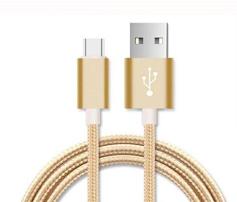Preisvergleich Produktbild ONX3 (Gold) Premium-Qualität 3 Meter USB-Typ-C-Kabel Nylon Geflochten Schnelle Aufladung und Datenübertragungs-Kabel mit reversiblem Anschluss für Samsung Galaxy A5 (2017)