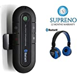 Supreno Bluetooth Speakerphone, Wireless Audio Music Receiver Hands Free Bluetooth Car Kit Sun Visor Portable Bluetooth Multipoint Speakerphone With MS-771 Full Dolby Sound Bluetooth Wireless Headphone (12 Months Warranty)