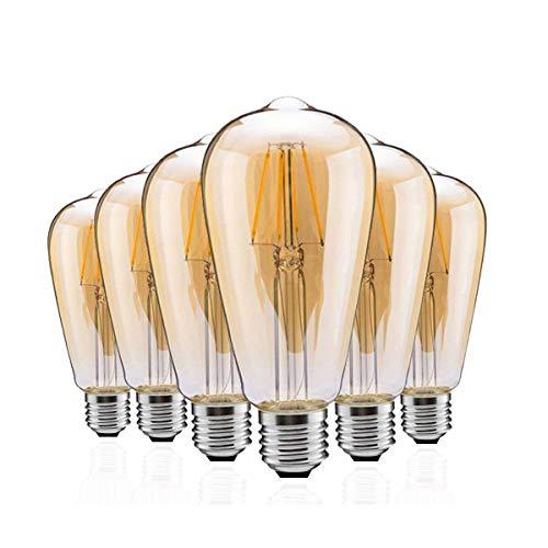 (ZOOVQI Edison LED Glühbirne Retro Glühlampe Vintage E27 4W 2300K Dekorative Leuchtmittel Dimmbar Beleuchtung Birne Für Haus Wohnzimmer Büro Café Bar usw)